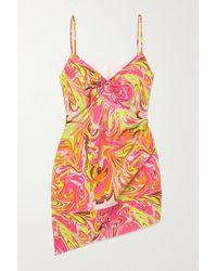 Maisie Wilen Party Girl Asymmetrisches Minikleid Aus Bedrucktem Crêpe - Pink