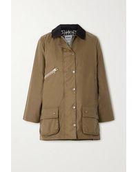 Barbour + Alexachung Edith Corduroy-trimmed Waxed-cotton Jacket - Multicolour