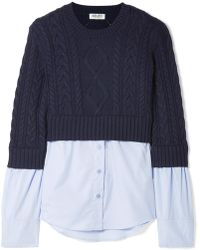 KENZO - Layered Cable-knit Wool And Cotton-poplin Jumper - Lyst