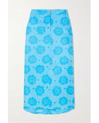 Rejina Pyo Net Sustain Eunice Printed Fillsens Lyocell Midi Skirt - Blue