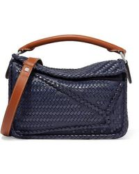 Loewe Puzzle Small Woven Leather Shoulder Bag - Blue