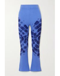 The Elder Statesman Tie-dyed Ribbed Cashmere Flared Pants - Blue