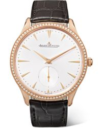 Jaeger-lecoultre - Master Ultra Thin Small Second 38.5mm 18-karat Rose Gold, Alligator And Diamond Watch - Lyst