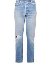 RE/DONE - Zip-embellished Distressed High-rise Straight-leg Jeans - Lyst