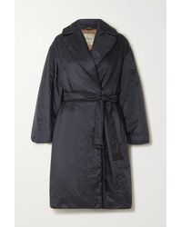 Max Mara The Cube Belted Padded Shell Coat - Blue