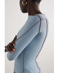 Baserange Omato Ruffled Ribbed Stretch Organic Cotton Top - Blue