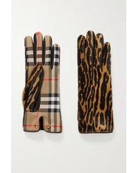 Burberry Leather-trimmed Leopard-print Calf Hair And Checked Twill Gloves - Brown