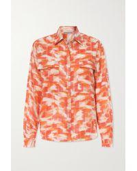 Three Graces London Willow Printed Linen Shirt - Orange