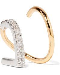 Maria Black - Bela Blanc Twirl 14-karat Gold, Rhodium-plated And Diamond Earring - Lyst