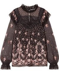 Needle & Thread - Eclipse Lace-trimmed Embroidered Tulle Blouse - Lyst