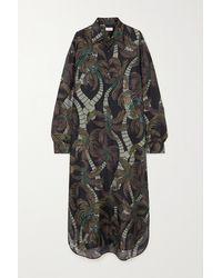 Dries Van Noten Cayley Printed Silk Crepe De Chine Maxi Shirt Dress - Brown