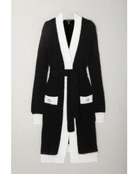 Balmain Belted Two-tone Ribbed-knit Cardigan - Black