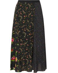 McQ Patchwork Floral-print Crepe De Chine Midi Skirt - Black