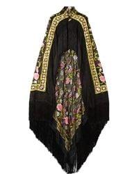 Naeem Khan - Fringed Embroidered Chiffon Cape - Lyst