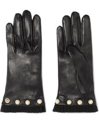 Gucci - Faux Pearl-embellished Grosgrain-trimmed Leather Gloves - Lyst
