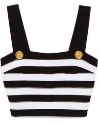 f78b73e4b31cb0 Balmain - Cropped Striped Ribbed Jersey Top - Lyst