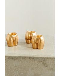 Anissa Kermiche Rock Bottom Set Of Three Ceramic Tea Light Holders - Metallic