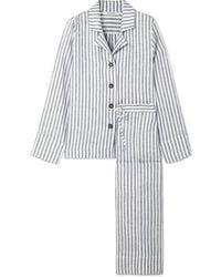 Sleeper Striped Linen-gauze Pajama Set - Blue