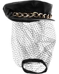 Eugenia Kim - Marina Chain-embellished Tulle And Leather Cap - Lyst