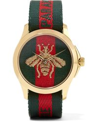 Gucci - Canvas And Gold-tone Watch - Lyst