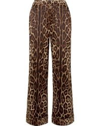 Dolce & Gabbana Printed Satin Wide Leg Pants - Brown