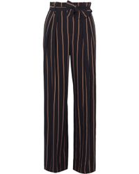 Vince - Belted Striped Crepe Wide-leg Pants - Lyst