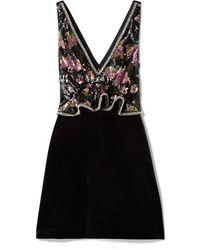 Self-Portrait - Embellished Velvet Peplum Mini Dress - Lyst