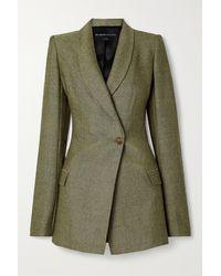 Brandon Maxwell Herringbone Wool Blazer - Green