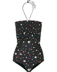 Ganni - Ipanema Shirred Floral-print Halterneck Swimsuit - Lyst