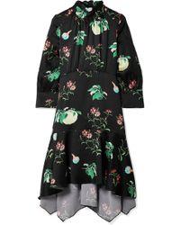 Peter Pilotto - Floral-print Hammered-silk Dress - Lyst