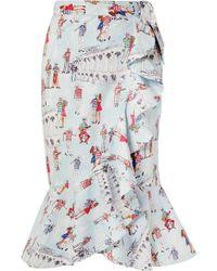 c7b278cb43 Ganni Leclair Ruffled Polka-dot Satin Midi Skirt in White - Lyst