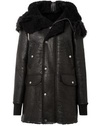 Rick Owens - Hooded Shearling Coat - Lyst