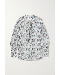 Victoria, Victoria Beckham Tie-neck Printed Recycled Twill Blouse - Blue