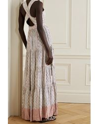 Ulla Johnson Mirai Tiered Printed Satin-crepe Gown - Grey
