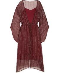 Cloe Cassandro Fifi Belted Silk-crepon Dress - Red