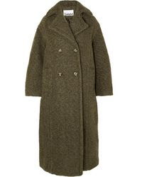 Ganni Oversized Double-breasted Wool-blend Bouclé Coat - Green