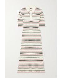 Adam Lippes - Striped Crinkled Cotton-blend Midi Dress - Lyst