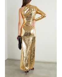Dundas One-sleeve Bead-embellished Sequinned Organza Gown - Metallic