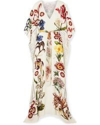 Oscar de la Renta Belted Printed Silk-chiffon Gown - Multicolour