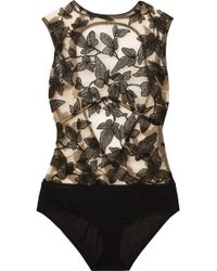 I.D Sarrieri - Fleur Interdit Open-back Embroidered Stretch-tulle And Jersey Bodysuit - Lyst