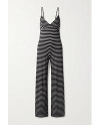 Norma Kamali - Slip Striped Stretch-jersey Jumpsuit - Lyst