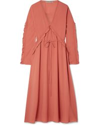 Bottega Veneta - Ruffled Silk-georgette Midi Dress - Lyst