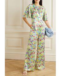 Les Rêveries Combi-pantalon En Satin De Soie À Imprimé Fleuri - Vert