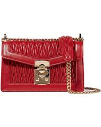 c26a9760447c Lyst - Miu Miu Grace Leather Shoulder Bag in Red