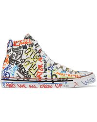 Vetements - Graffiti Print High Top Sneakers - Lyst