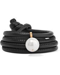 Mizuki - Convertible Leather, 14-karat Gold And Pearl Bracelet - Lyst