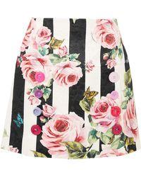 Dolce & Gabbana - Printed Cotton And Silk-blend Brocade Mini Skirt - Lyst