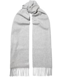 Johnstons - Grey Cashmere Plain Scarf - Lyst