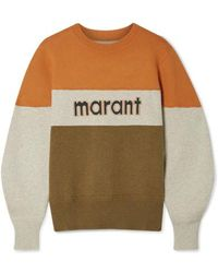Étoile Isabel Marant Kedy Color-block Intarsia Knitted Sweater - Green