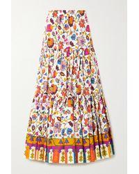 La DoubleJ Big Tiered Floral-print Cotton-poplin Skirt - White